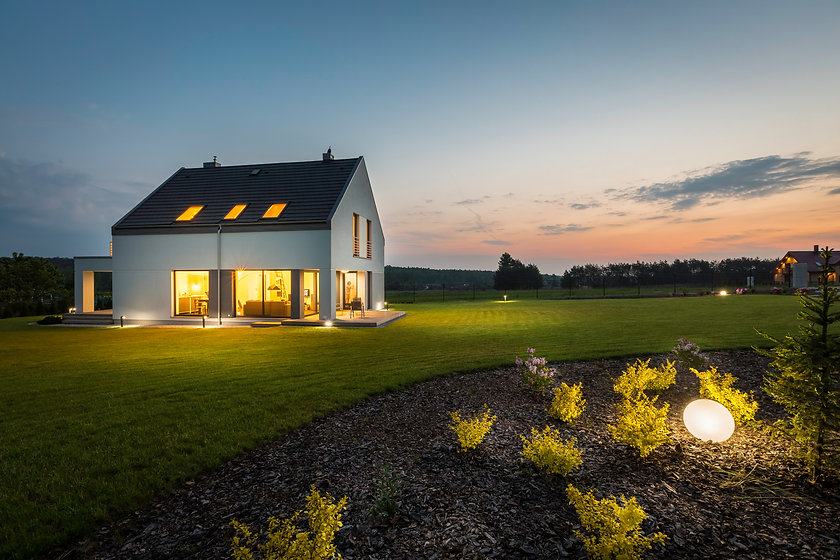 Photo of modern house with outdoor light