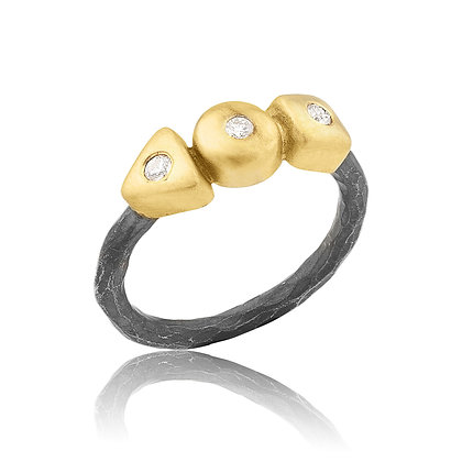 Gold & Silver with Diamonds Geometry Ring