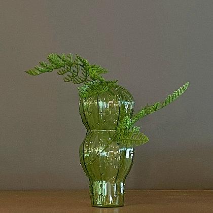 Small Decorative Glass Vase ~ Green