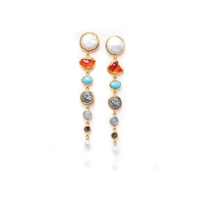 Multi Stone Gold Post Earrings by ARA