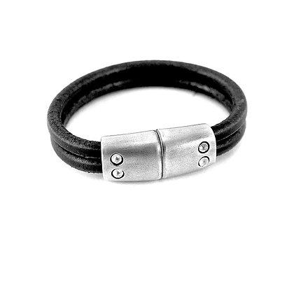 Leather & Silver Lodestone Bracelet by Cat Bates