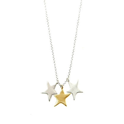 3-Stars Mixed Metal Necklace by Philippa Roberts