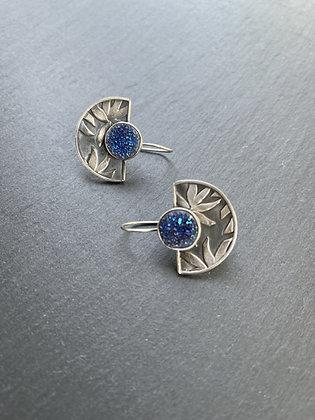 Blue Titanium Druzy Fan Earrings by Heather Munion