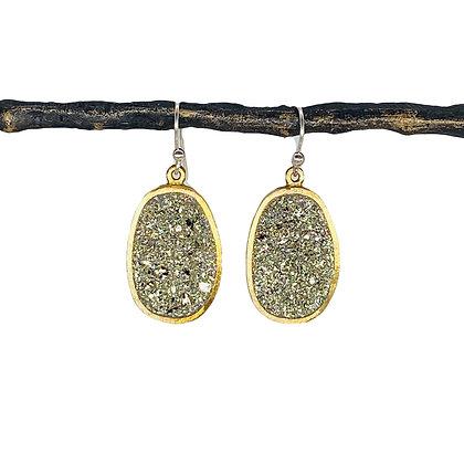 Small Boulder Earrings | Pyrite