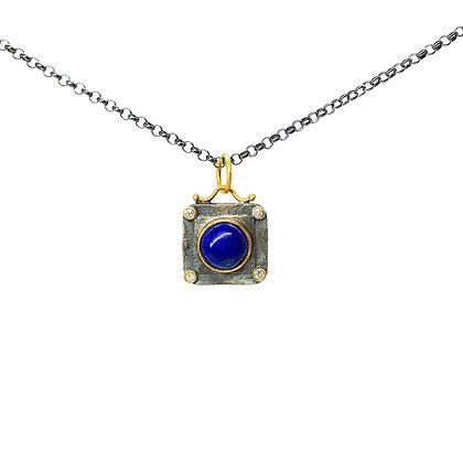 Lapis with Diamond Pendant Necklace by Prehistoric Works