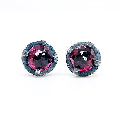 6mm Fuchsia Garnet Stud Earrings by Heather Guidero
