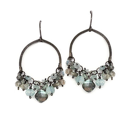 Chalcedony & LabradoriteDrop Earrings by Calliope