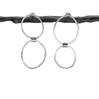 Asymmetrical Circle Post Earrings by Chrissy Liu