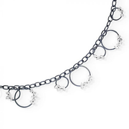 Circle Bunches Long Necklace with Quartz - 40""