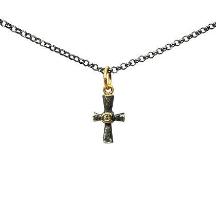 Byzantine Cross Diamond Pendant Necklace by Prehistoric Works