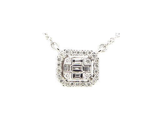 Diamond Rectangle Pendant Necklace by Dilamani