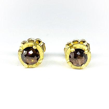 4mm Cognac Diamond Stud Earrings by Heather Guidero