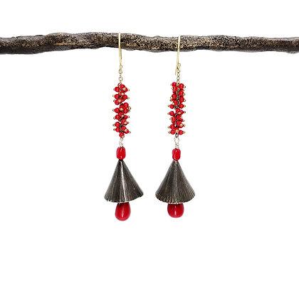 Red Coral Bell Earrings