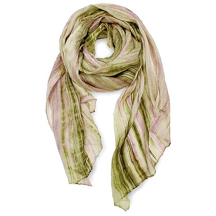 Olive + Lavender Watercolor Silk Scarf