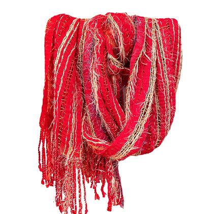 Red  Fringed Scarf - Shawl