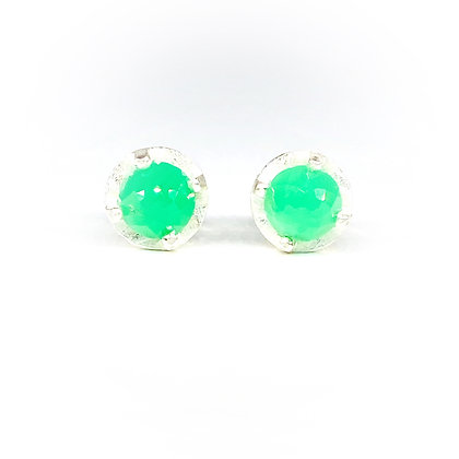 6mm Chrysoprase Stud Earrings by Heather Guidero