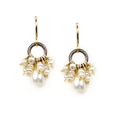 Delicate Pearl Cluster Earrings by Calliope