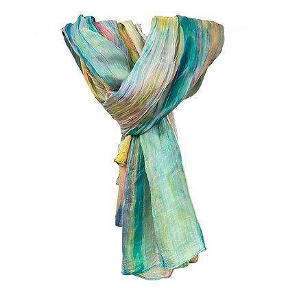 Rainbow Watercolor Silk Scarf