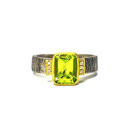 Peridot and Diamond Ring by Prehistoric Works