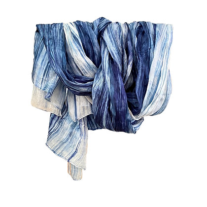 Denim Blue Watercolor Silk Scarf