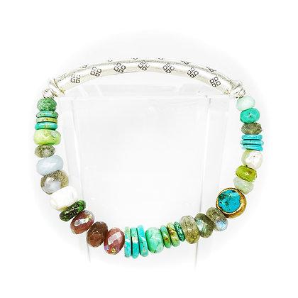 Ocean Silver Bar Bracelet by Riverstone