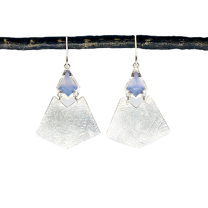 Lilac Chalcedony Kite Earrings by Heather Guidero
