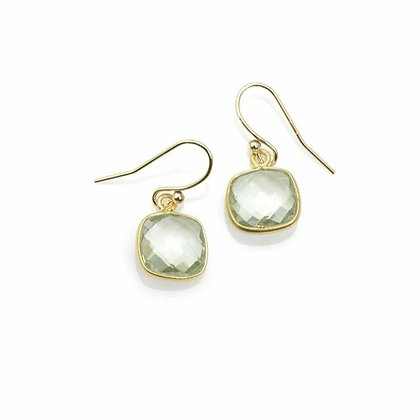 Square Faceted Green Amethyst Earrings