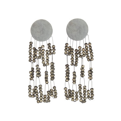 Deco Earrings with Pyriteby Heather Guidero