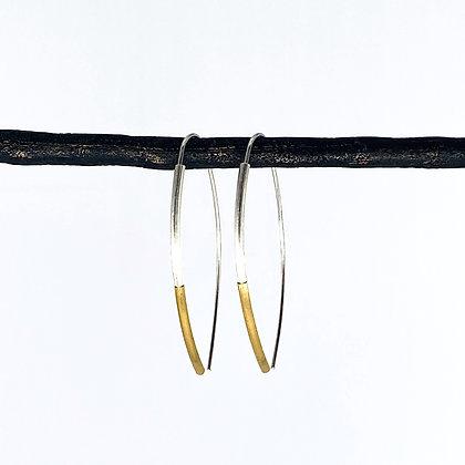 Marquise Hoop 2-Color Tube Earrings