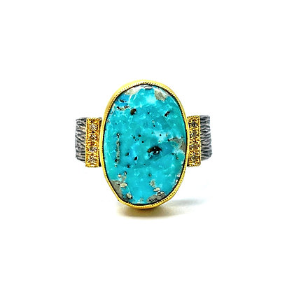 Turquoise and Diamond Ring by Prehistoric Works