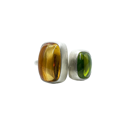 Citrine and Peridot Silver Ring by Hitomi Jacobs