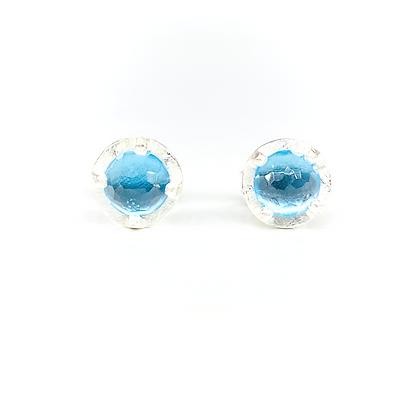 Blue Topaz Stud Earrings   6mm
