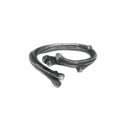 Oxidized Silver Branch Adjustable Ring