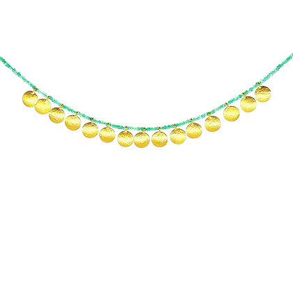 Emerald & Gold Discs Necklace