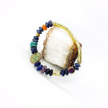 Lapis Tear Jerker Gold Bar Bracelet by Riverstone