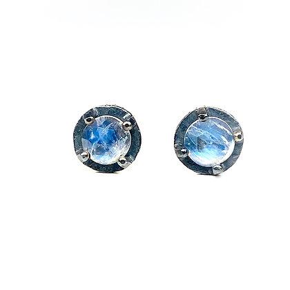 Rainbow Moonstone Stud Earrings | 6mm