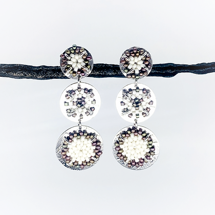 Round Flat Beaded Earrings by Claudia Fajardo