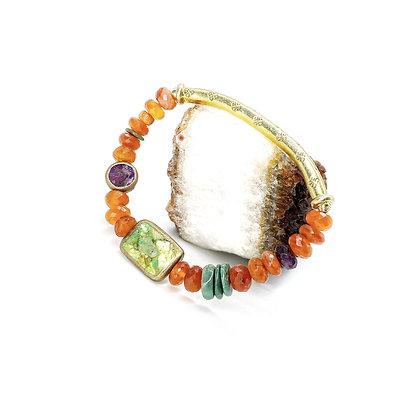 Carnelian Gold Bar Bracelet by Riverstone