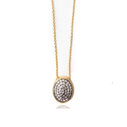 Oval Pave Diamond Necklace by ARA