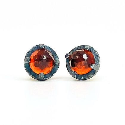 6mm Red Garnet Stud Earrings by Heather Guidero