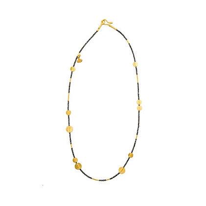Black Diamonds & Gold Discs Necklace by ARA