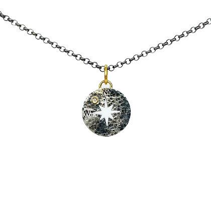Compass Diamond Pendant Necklace by Prehistoric Work