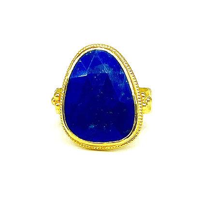 Large Lapis Gold Ring