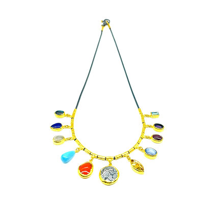 Multi Stone Gold Necklace by ARA