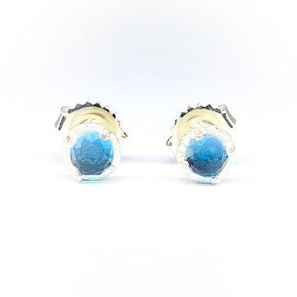 4mm Blue Topaz Stud Earrings by Heather Guidero