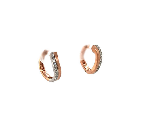 Diamond & Gold Wavy Edge Huggy Earrings by Dilamani
