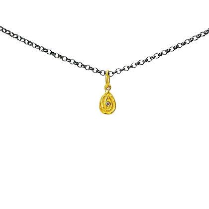 Teardrop with Diamond Pendant Necklace by Prehistoric Work