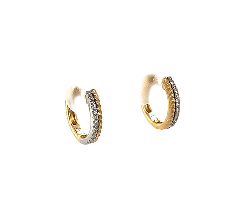 Diamond & Gold Braided Edge Huggy Earrings by Dilamani