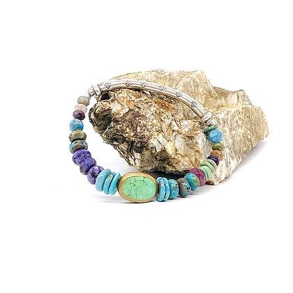 Turquoise Silver Bar Bracelet
