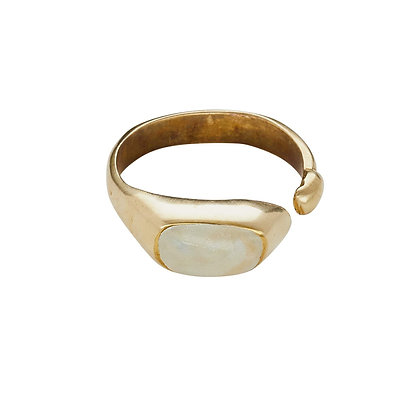 Pool Bronze Ivory Clay Ring by Julie Cohn